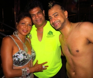 Chutney-Soca Queen Drupatee poses with Dr. Fuad Khan and Ravi B of Karma