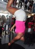 This Ship Shape attendee demonstrates the Pole Fitness sement of the fun cruise